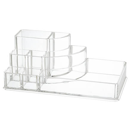 Multi-Tier Make-Up Organizer Add ease to your beauty routine with this Multi-Tier Makeup Organizer's terrific tiers and cubbies. It's designed to keep your makeup, brushes, hair accessories, and more easy to see, easy to access and perfectly orderly in this cosmetic organizer. Durable acrylic makeup organizer is simple to clean, too. Use it on its own on a countertop or on top of our coordinating jewelry organizer (sold separately). Measures 6 5/8  L x 3 1/2  W x 2 1/2  H overall.