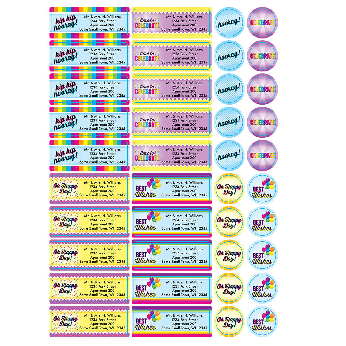 Personalized Colorful Celebrations Labels and Seals, Set of 60-366172