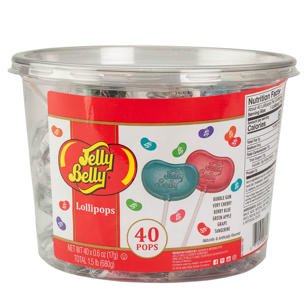 Jelly Belly® 40-Count Lollipop Tub-366672