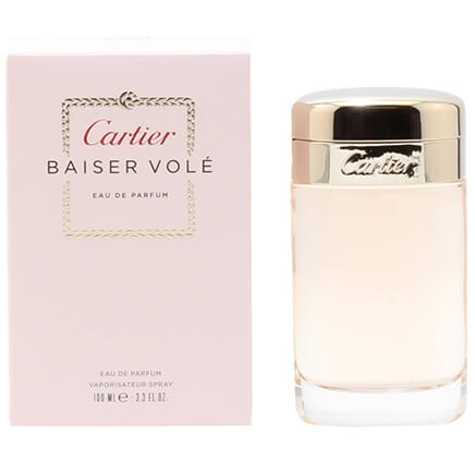 Cartier Baiser Vole for Women EDP - 3.3 oz Cartier Baiser Vole for Women is a feminine fragrance as refreshing citrus at the top, blending in nicely with it's green lily core. 3.3 fl. oz. The women's perfume is an EDP spray.