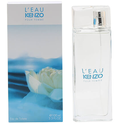 L'Eau Kenzo For Women EDT - 3.3 oz L'Eau Kenzo For Women is a sparkling aquatic perfume for women. Water is the inspiration for the fragrance, as it is refreshing, light, and essential. Features: top notes of Lemon and Pear; middle notes of Lotus, Freesia and Rose; and base notes of Musk and Cedar. 3.3 fl. oz. An EDT spray.