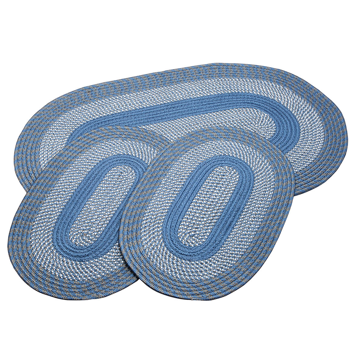 Slate Blue 3-Piece Two-Tone Braided Rug Set by OakRidge™-367535