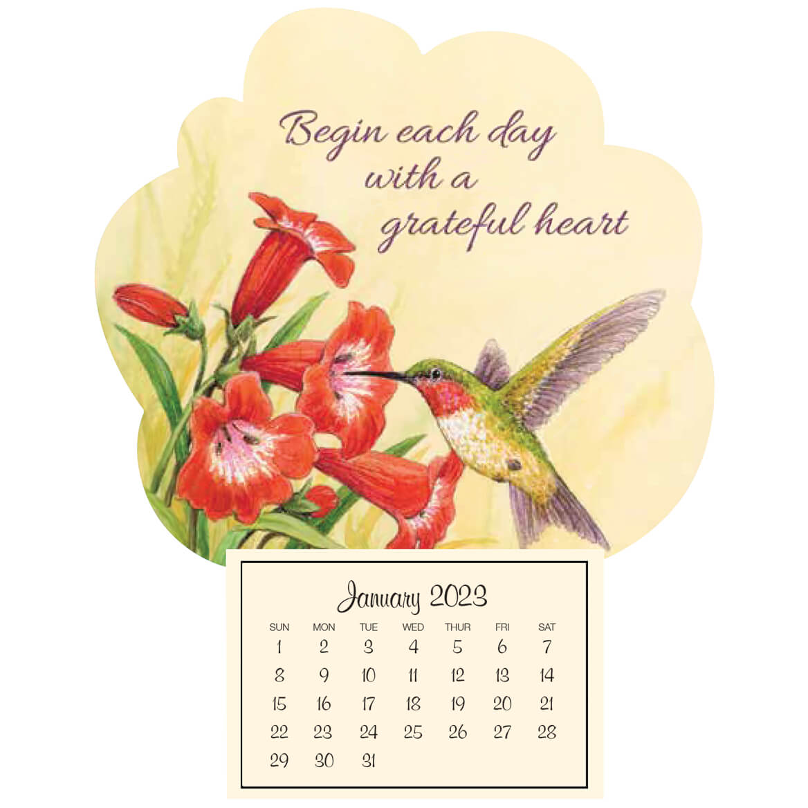 Mini Magnetic Calendar Grateful Hummingbird-367575