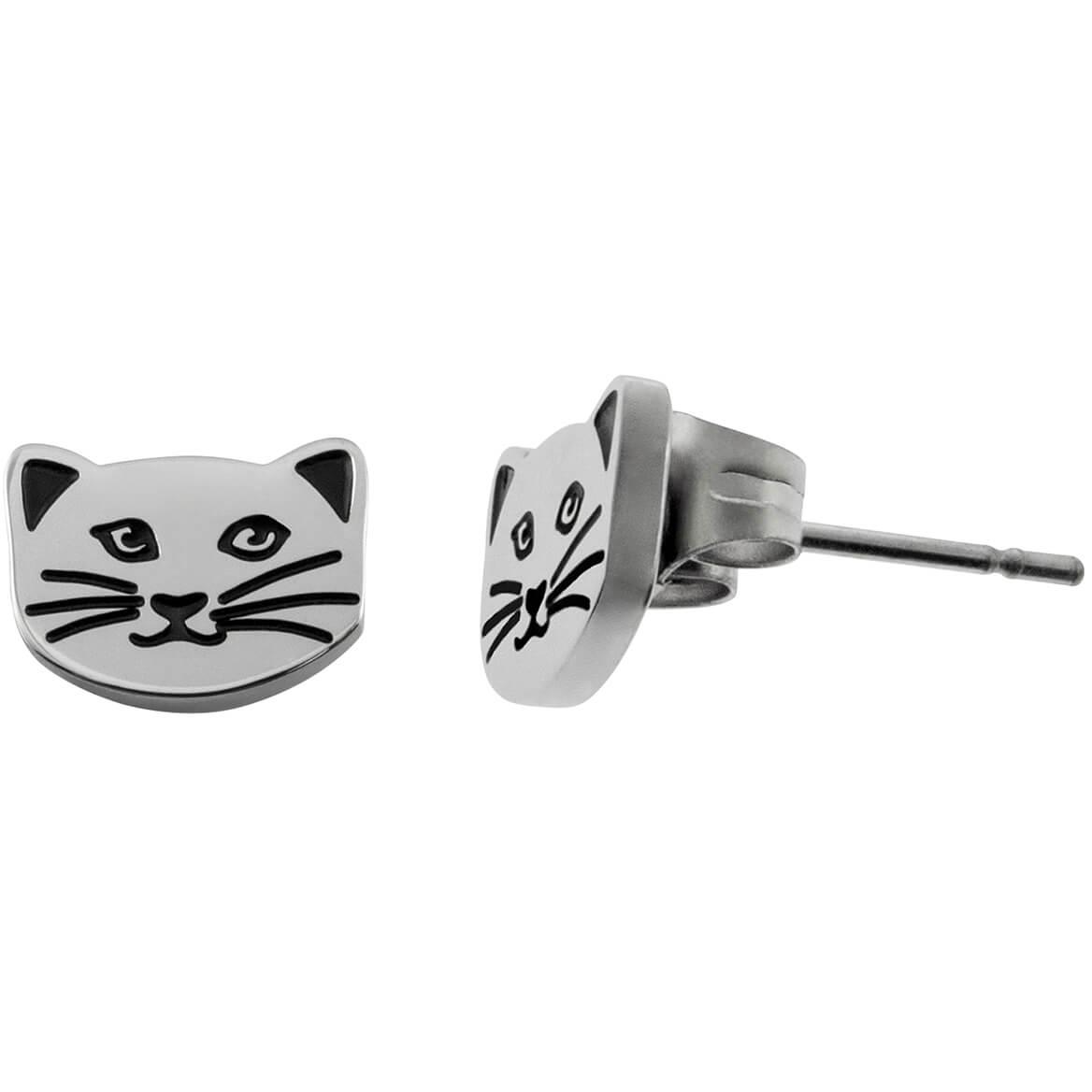 Cat Lady Button Pierced Earrings-368664