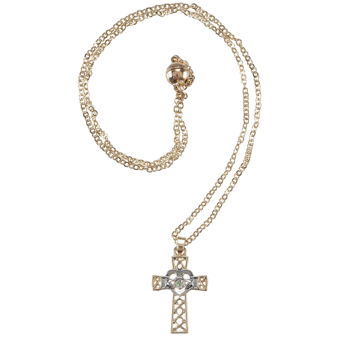 Claddagh Celtic Cross Necklace with Magnetic Closure-369078