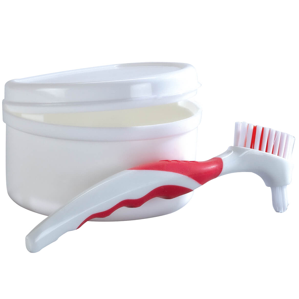 Denture Cleaning Brush and Bath with Rinse Basket Set-369250