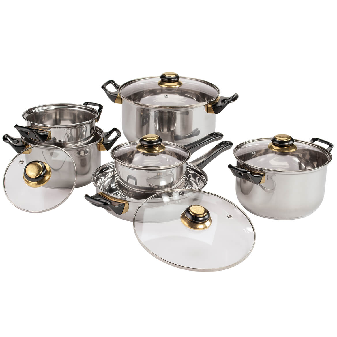 Deluxe 12 Pc. Stainless Steel Cookware Set-369767