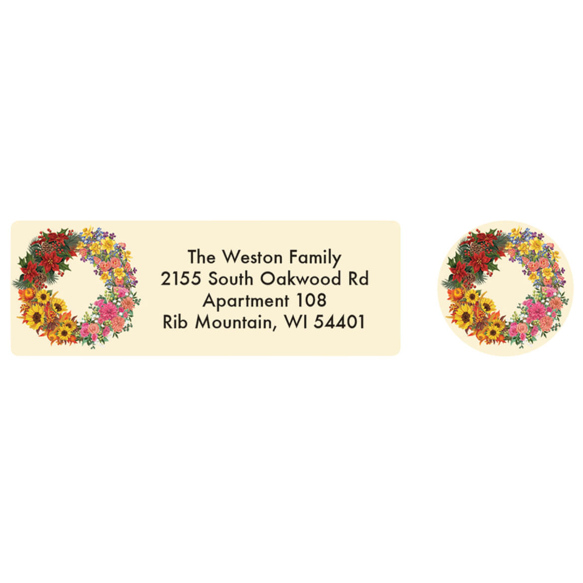 Personalized Four Seasons Wreath Labels and Seals 20-370167