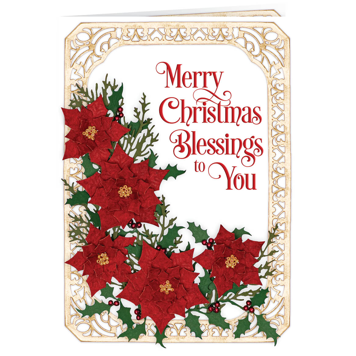 Personalized Poinsettia Collage Christmas Card Set of 20-370187