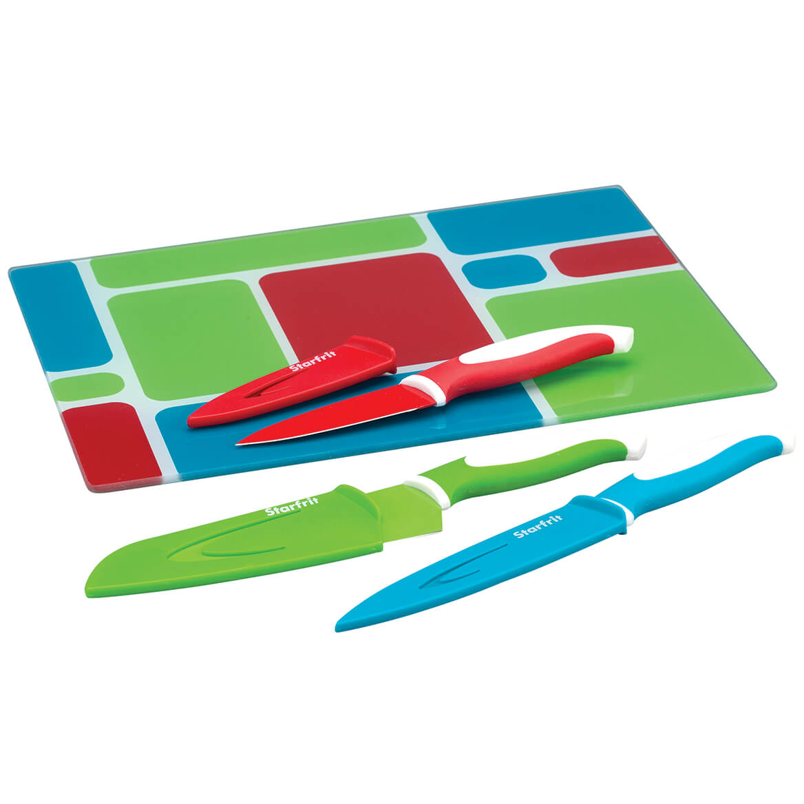 7 Pc Glass Cutting Board and Knife Set-370567