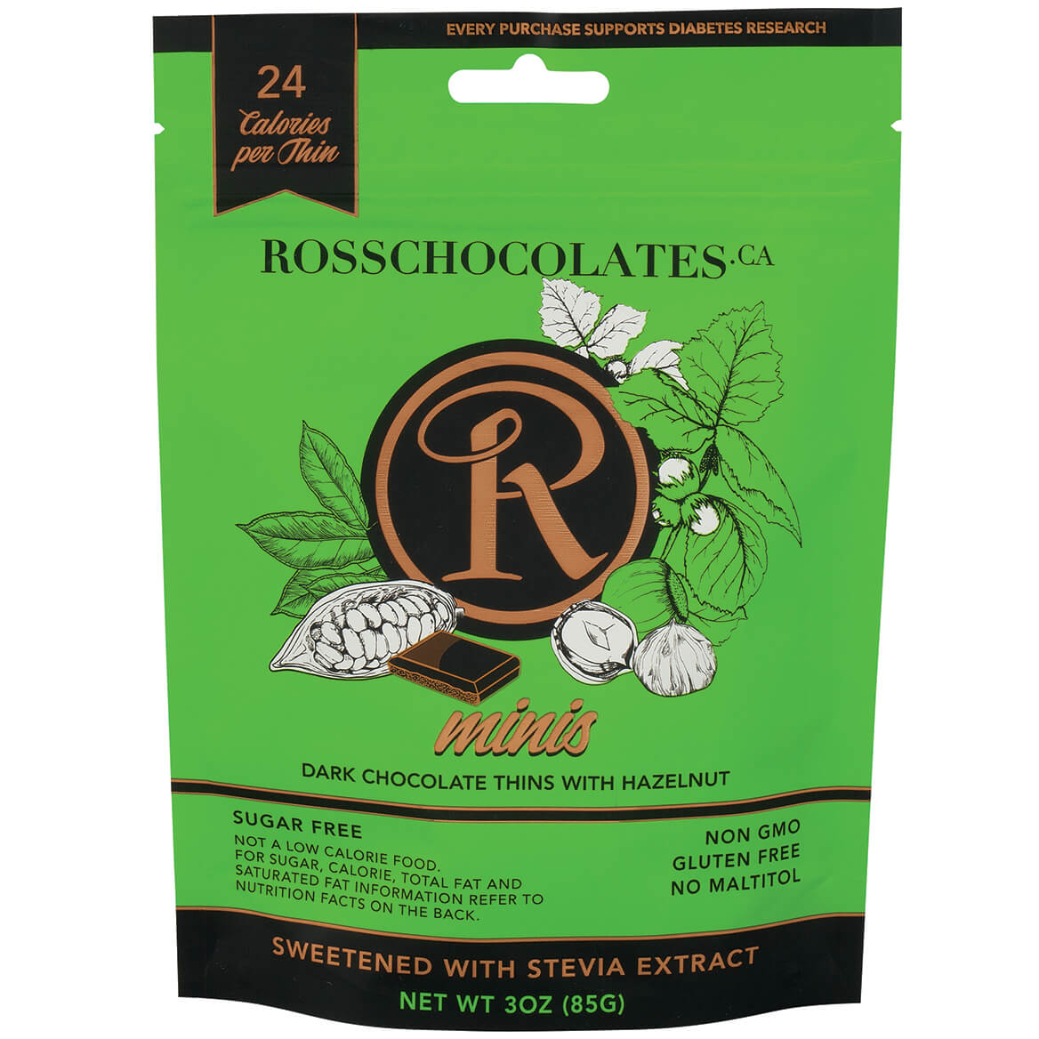 Ross Chocolates Sugar Free Dark Chocolate with Hazelnut Mini-370911