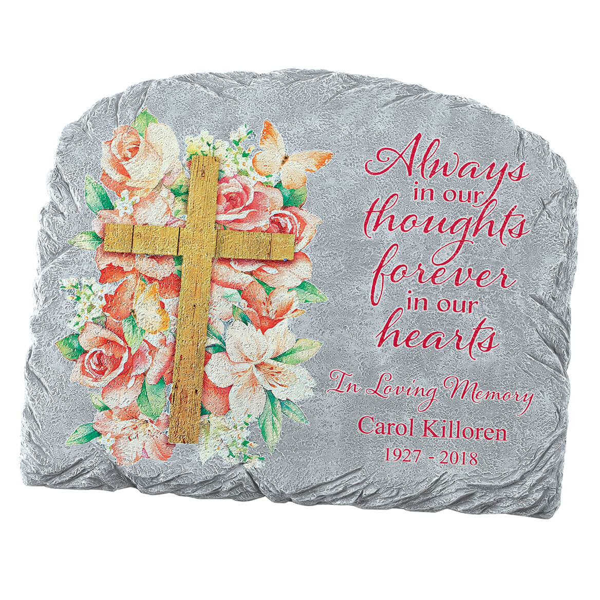 Personalized Floral Cross Garden Stone-371659