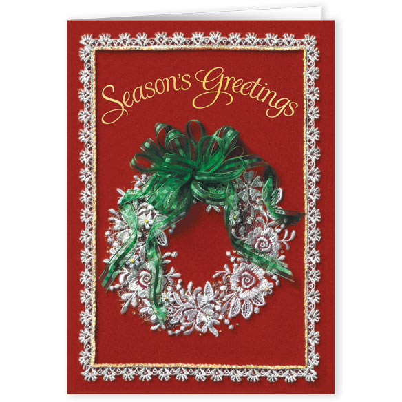 Lace Wreath Christmas Card Set - Set Of 20 - View 1