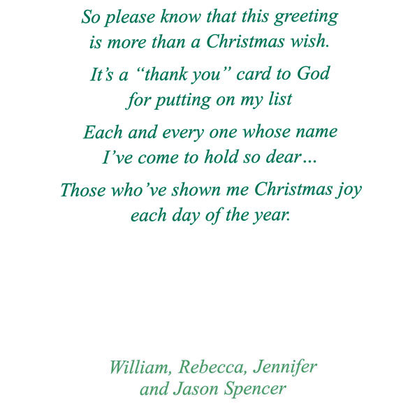 My Christmas List Religious Christmas Card Set of 20 - View 4