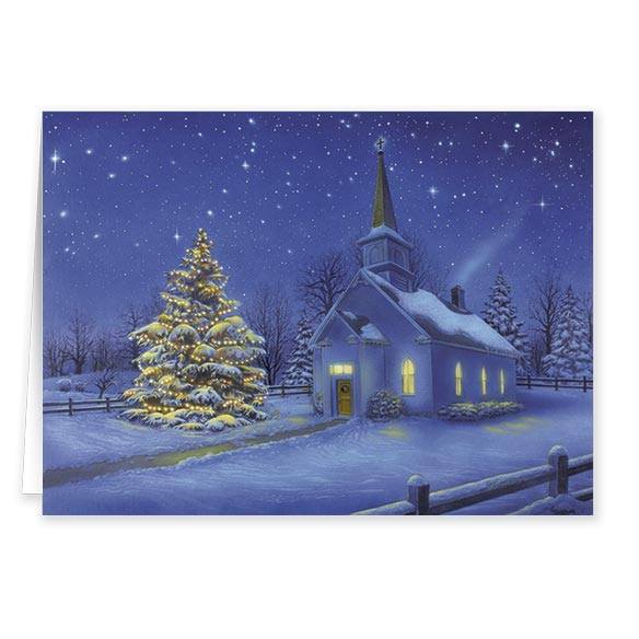 Country Church Christmas Card Set/20 - View 2