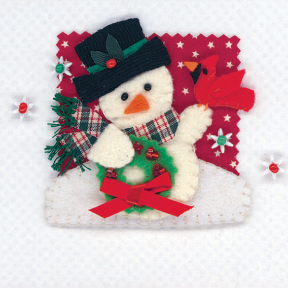 Calico Snowman Christmas Card Set of 20 - View 3