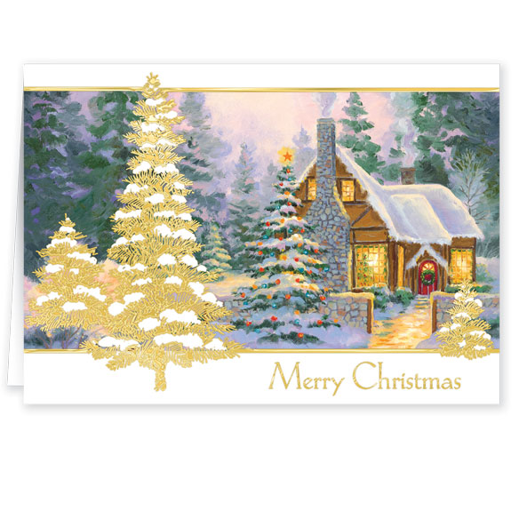 Glowing Cottage Personalized Christmas Cards Set Of 20 - View 2