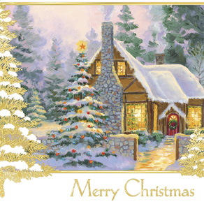 Glowing Cottage Personalized Christmas Cards Set Of 20 - View 3