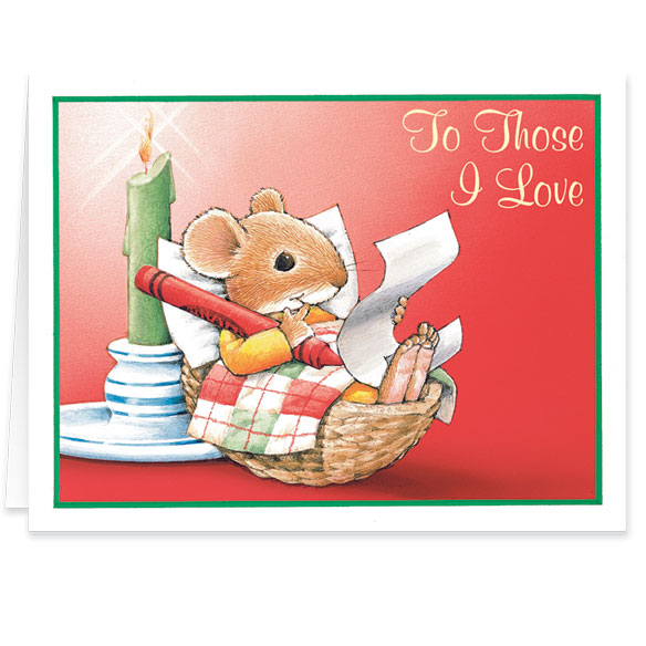 Christmas Mouse Those I Love Christmas Card - Set Of 20 - View 2