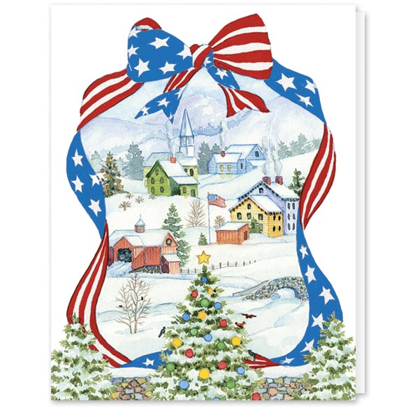 Red White and Blue Wishes Christmas Card Set/20 - View 2