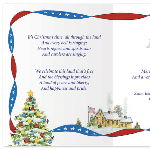Red White and Blue Wishes Christmas Card Set/20 - View 3