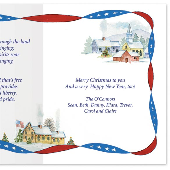 Red White and Blue Wishes Christmas Card Set/20 - View 4