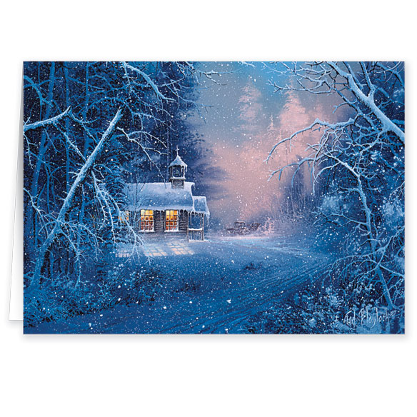 Woodland Chapel Christmas Card Pers Set of 20 - View 2