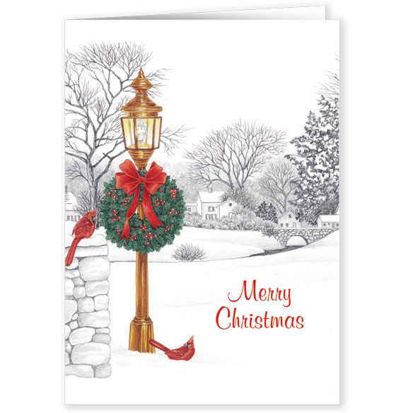 Lamppost Christmas Card Pers Set of 20 - View 1