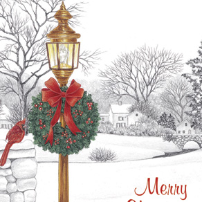 Lamppost Christmas Card Pers Set of 20