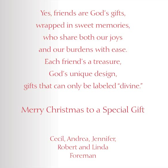 Friends are God's Gifts Christmas Card Set of 20 - View 3