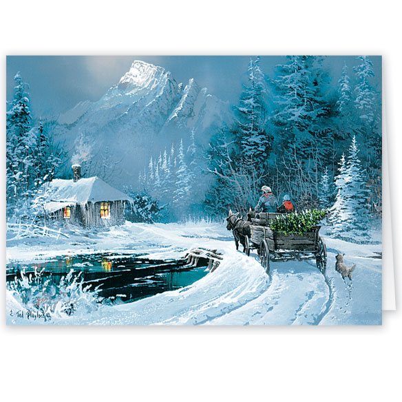 Blaylock Winter Wagon Ride Christmas Card - Set of 20 - View 2