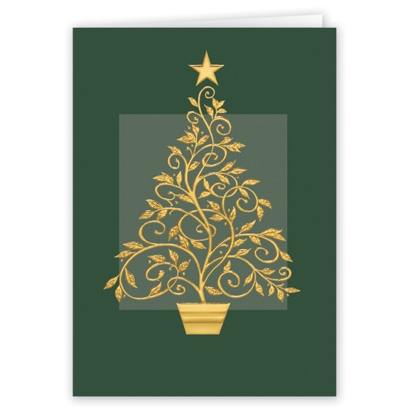 Gold Embossed Tree Christmas Card - Set Of 20 - View 1