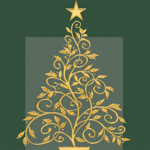 Gold Embossed Tree Christmas Card - Set Of 20 - View 3