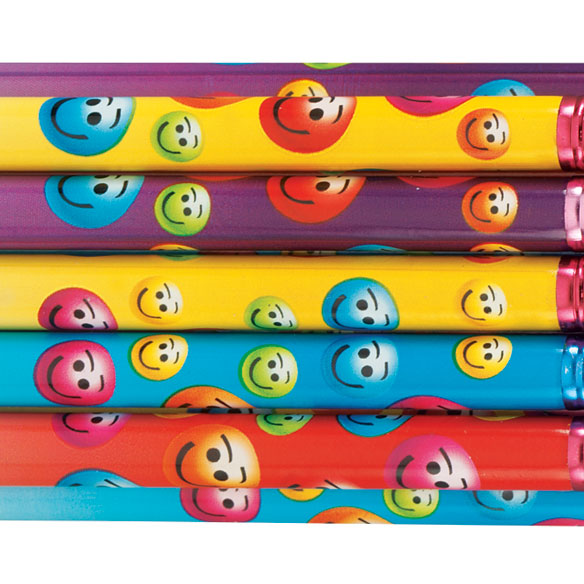 Personalized Smiley Face Pencils - Assortment Set Of 12 - View 1