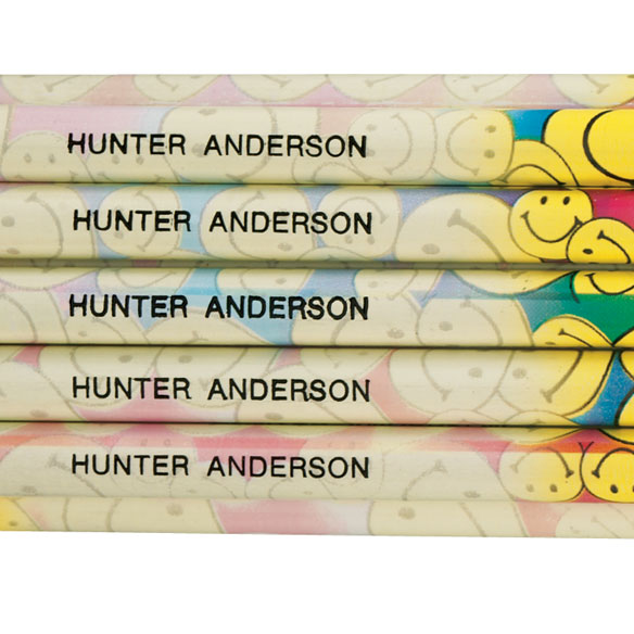 Personalized Smiley Face Pencils - Set of 12 - View 2