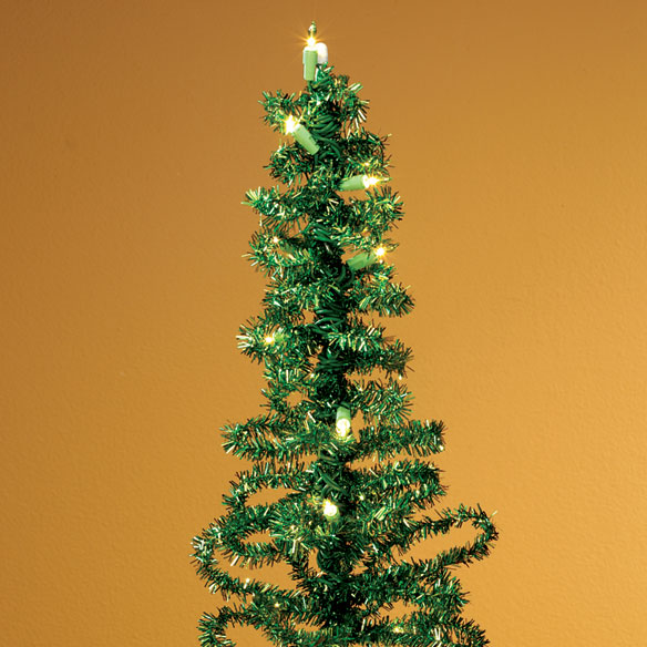 "28"" Pre-Lit Green Tinsel Tree - View 1"