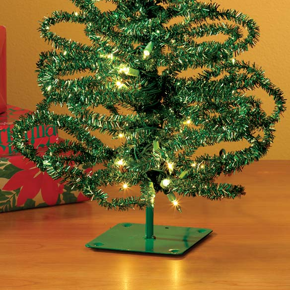 "28"" Pre-Lit Green Tinsel Tree - View 2"
