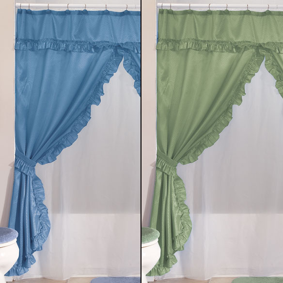 Double Swag Shower Curtains With Valance - View 3