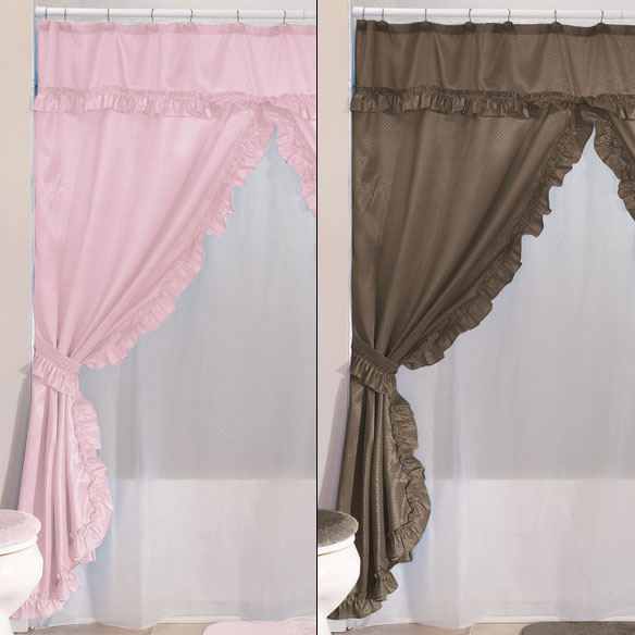 Double Swag Shower Curtains With Valance - View 5
