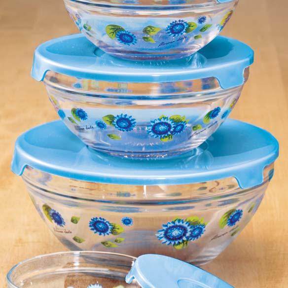Floral Glass Bowls Set of 5 - View 2