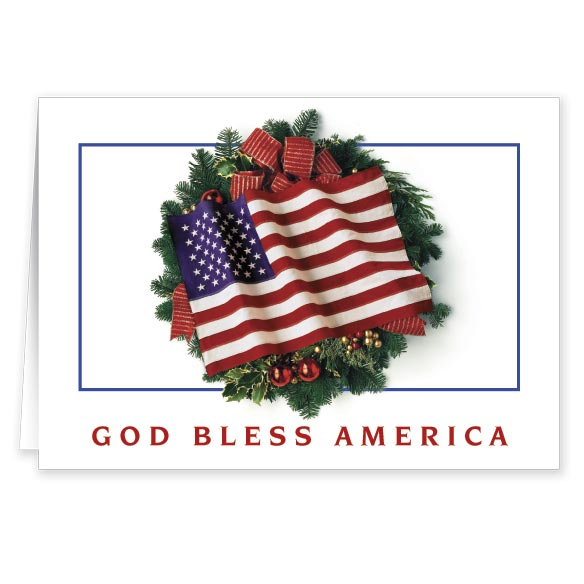 Flag Wreath Christmas Card Set of 20 - View 1