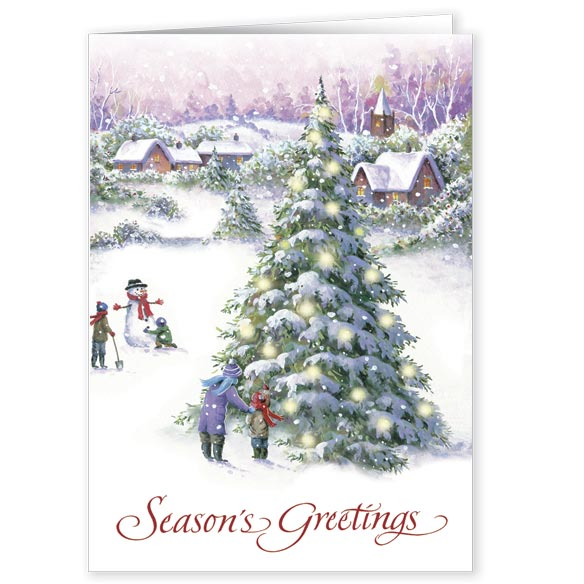 Snowy Village Tree Front & Back Christmas Card - Set Of 20 - View 1