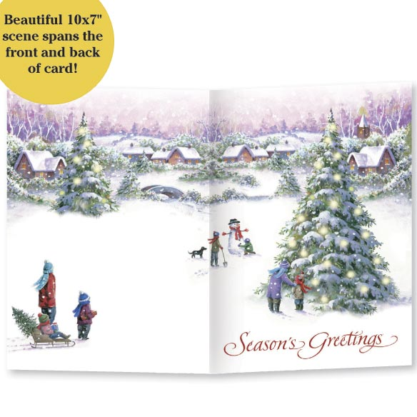 Snowy Village Tree Front & Back Christmas Card - Set Of 20 - View 3