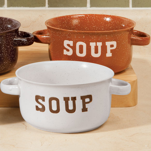 Handled Stoneware Soup Mugs - Set of 4