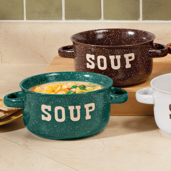 Stoneware Soup Bowls With Handles - Set Of 4 - View 2