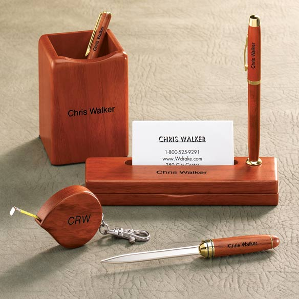 Personalized Rosewood Single Pen Box with Holder - View 4