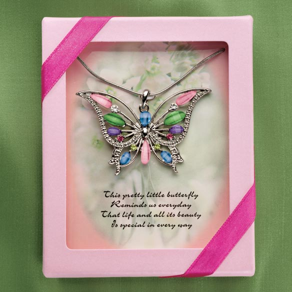 Jewel Butterfly Necklace - View 1
