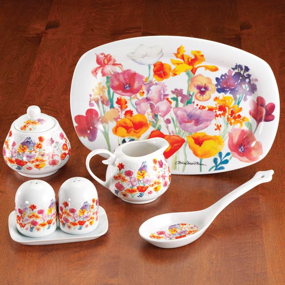 Floral Porcelain Sugar and Creamer Set - View 1
