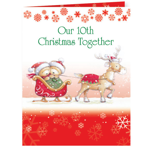 Years Together Teddy Bear Couple Christmas Card Set of 20 - View 1