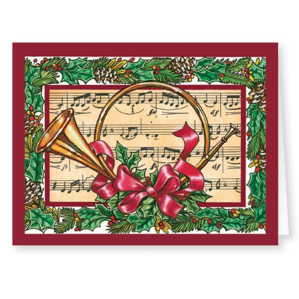 French Horn Christmas Card - Set Of 20 - View 1